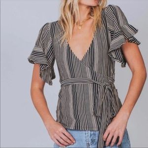 Free People - Striped V-Neck Wrap Ruffle Top - S